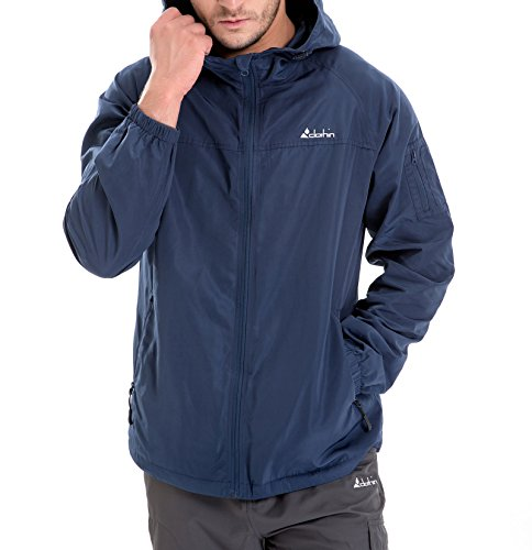 Clothin Men's Lightweight Travel Jacket/Jogging Coat for Outdoor Exercise Sport Golf Running Outerwear Windbreaker(Blue XL)