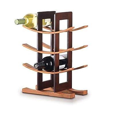 JSIHENA Wine Racks Countertop Stainless Steel, Red Wine Rack Wooden Bottle Holder Freestanding Floor Wooden Wine Rack, Folding Wood Bamboo Wine Rack,Brown by JSIHENA