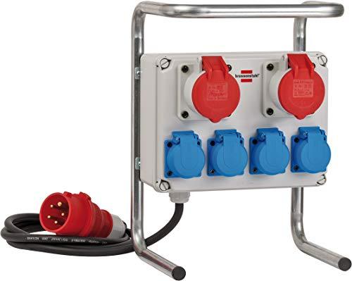 Brennenstuhl Kompakter Kleinstromverteiler BKV 2/4 G IP44 / Baustromverteiler mit Stahlrohrgestell (2m Kabel, für ständigen Einsatz im Außenbereich IP44, Made in Germany)