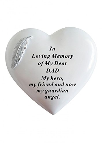 DAD - White & Silver Angel Feather Memorial Heart Tribute, Grave Remembrance Ornament