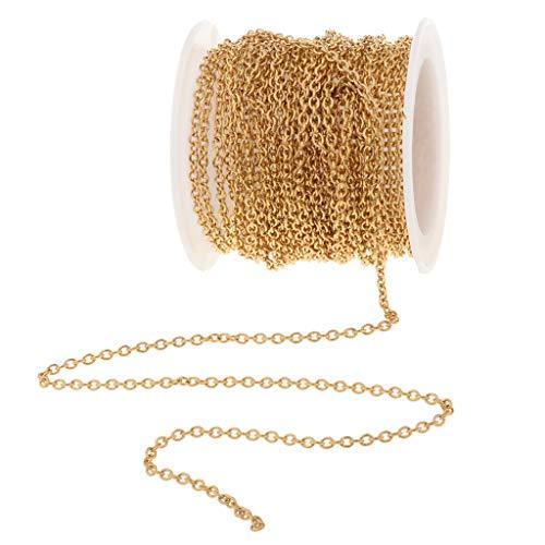 FLAMEER 1 Rolle 6 Meter Edelstahldraht Schmuckdraht DIY Schmuck Herstellung für Halskette Fußkettchen Armband - Gold 2,2 mm 1