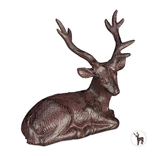 Relaxdays Figura de Ciervo Sentado para jardín, Impermeable, Hierro Fundido, Marrón, M
