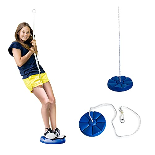 Squirrel Products Heavy Duty Blue Disc Tree Swing with Rope...