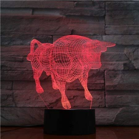 Night Light Animal Bull Ox 3D Night Light 7 Colors Changing Led Desk Table Lamp Acrylic Illusion Multicolor Lamps Family Gifts Stereo Light