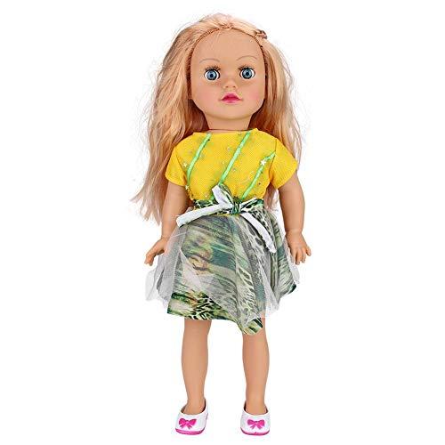Fdit 45cm Puppen Kind Spielzeug Nachahmung Mädchen Puppe mit Kleidung vorgeben Spiel Kinder Geburtstag Festival Geschenk(Gelb)
