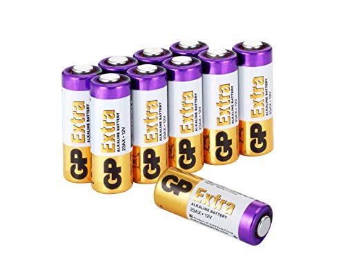 GP Extra Batterien 23A 12V Alkaline (A23, 23AE, MN21, V23GA) 10 Stück High-Voltage Batterien 12 Volt