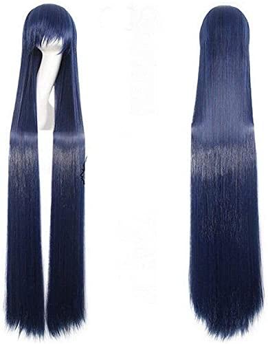 Beapet 150 cm Súper Largo Anime Cosplay Peluca con Flequillo Sintético Pelucas Negro Negro Púrpura Naranja Roja Pelucas Blancas para Las Mujeres Rose Net Brown Party Wig-Black (Color : Blue)