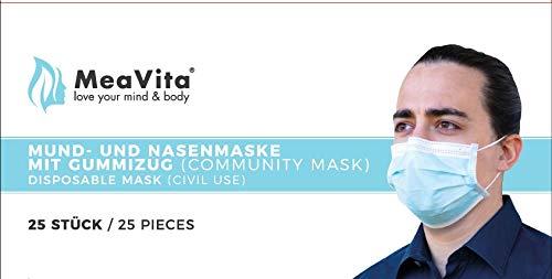 MeaVita Mund- und Nasenmaske, 25er Pack, Einweg Maske, 3-lagig Gummizug