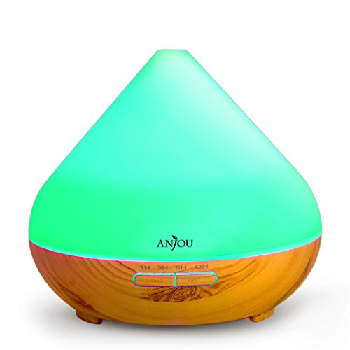 Essential Oil Diffuser 300ml Anjou Aromatherapy Diffuser, Ultrasonic Cool Mist Humidifier for Office, Home Decor Gift, Up to 8H Use, Waterless Auto Shut-Off, 7 Color LED Lights, Wood Grain, BPA-F