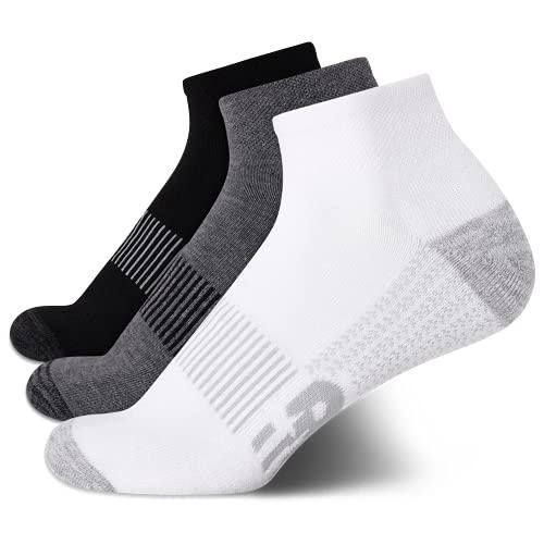 New Balance Men's Athletic Socks – Cushioned Quarter Cut Ankle Socks (3 Pack), Size Large: 8.5-12.5, Black/White/Grey