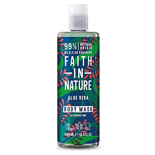 Faith in Nature Gel de Baño Natural de Aloe Vera, Rejuvenecedor, Vegano y No Testado en Animales, sin Parabenos ni SLS, 400 ml