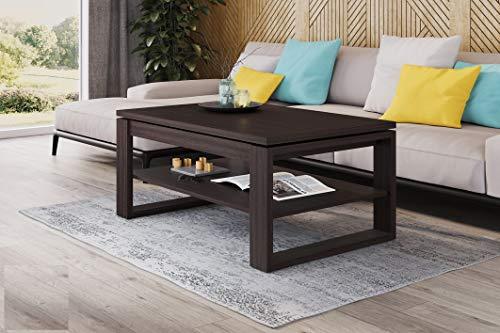 Mazzoni Design Couchtisch Multifunktionstisch Arbeitstisch Tisch Nuo Ablagefläche Esstisch (Walnuss Wenge)