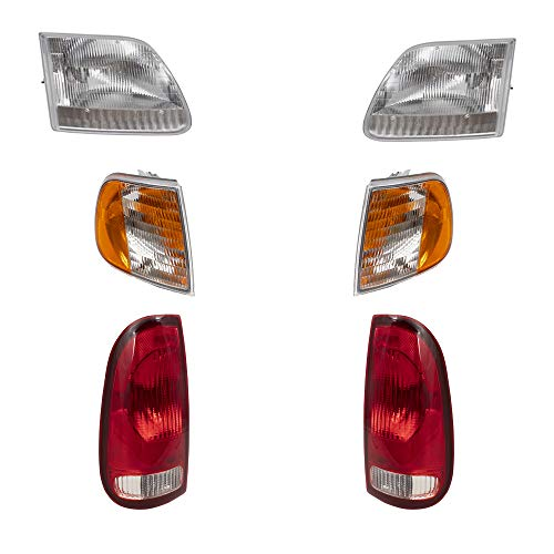 BROCK 6 Pc Set Headlights, Tail Lights and Corner Signal Lights Replacement for 1997-2003 Ford F150 Styleside Regular Extended Cab Pickup Truck