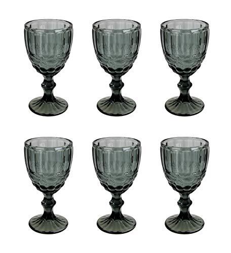 Vintage 6 Teile Set Schleife Weinglas Glas Gläser Weingläser Eisbecher Wasserglas Longdrinkglas Wasserkrug (grau schwarz)