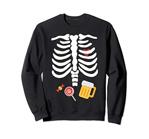 Halloween Skelett Kostüm mit Süßigkeiten & Bier Sweatshirt