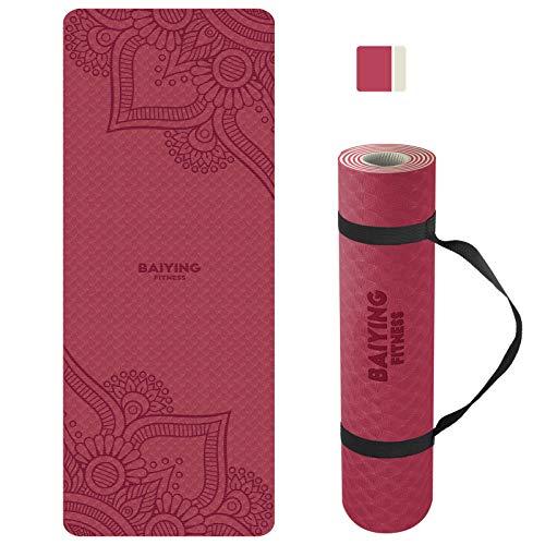 BAIYING Yogamatte, TPE Gymnastikmatte rutschfest Fitnessmatte für Workout Umweltfreundlich Übungsmatte Sportmatte für Yoga, Pilates Heimtraining, 183 x 61 x 0.6CM