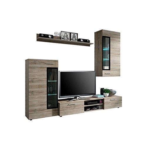 Wohnwand Twist, Design Modernes Wohnzimmer Set, Anbauwand, Schrankwand, Vitrine, TV Lowboard, Mediawand, (mit weißer LED Beleuchtung, San Remo Dunkel)