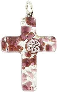 GlassOfVenice - Colgante de cristal de Murano, diseño de cruz veneciana, color morado