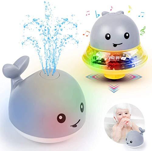 Baby Badespielzeug Wasserspielzeug mit Basisfahrzeug, Whale Spray Induction Schwimmende Baden Spielzeug mit Licht und Musik, Pool Wassersprühspielzeug für ab 2 Jahr Baby Kinder Party Geschenk (Grau)
