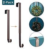 Myfolrena Adjustable Wreath Hanger from 15'-24', Metal Wreath Hook for Front Door, 20lb(Bronze-2 Pack)