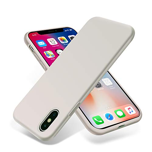 OTOFLY iPhone Xs Case/iPhone X Case,Ultra Slim Fit iPhone Case Liquid Silicone Gel Cover with Full Body Protection Anti-Scratch Shockproof Case Compatible with iPhone X/XS, White Stone