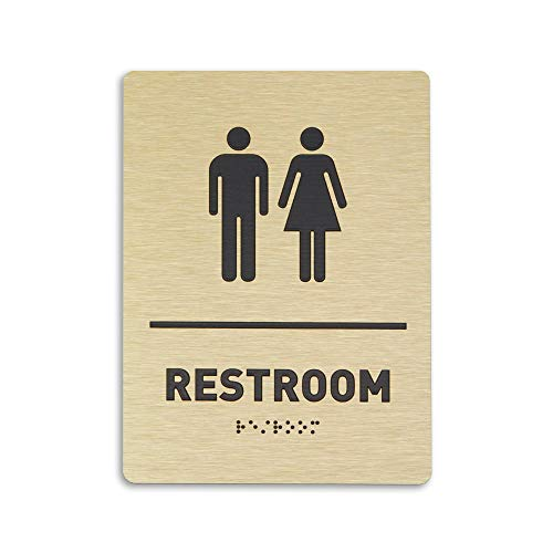 Unisex Restroom Identification Sign - ADA Compliant Bathroom Sign, Raised Icons, Raised Braille, Brushed Gold, TCO Inspection Certified (6