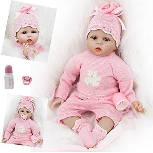 ZIYIUI Bambole Reborn Originali 22 Pollici 55 cm in Silicone Morbido Vinile Bambole Reborn Femmine che Sembrano Vere Bambole Neonato Rosa Giocattolo per bambini