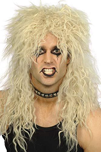 SMIFFYS Smiffy's Parrucca da Hard Rocker, bionda lunga arruffata Uomo, Taglia unica, 42179
