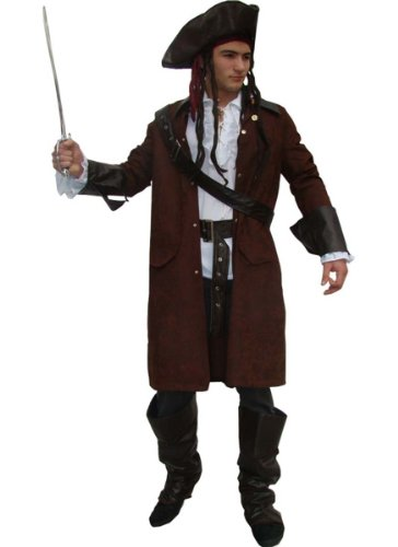 Maylynn 12104 - Disfraz de Pirata Traje de Pirata con Sombrero y Accesorios Jack Disfraz de Carnaval Hombres Talla M