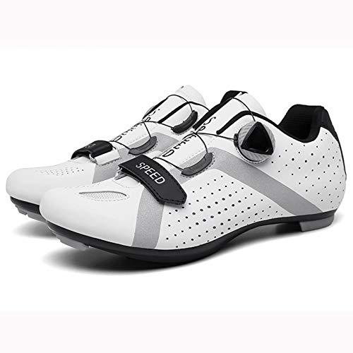 MJ-Brand Zapatillas de Ciclismo para Hombre y Mujer - Zapatillas de Ciclismo sin Bloqueo Zapatillas de Bicicleta de montaña compatibles con Tacos Transpirables con Botones giratorios