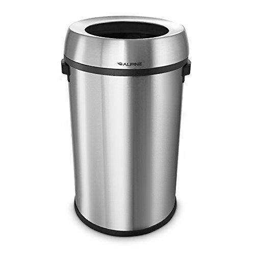 Alpine Industries 17-Gallon Stainless Steel Trash Can with Swing Lid - Heavy Duty Garbage Bin with Automatic Swing Closure for Odor Control - Trashcan for Home & Business Wastes (Open Top)