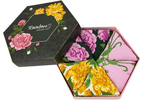 Rainbow Socks - Damen Blumen Socken Box Geschenk - 3 Paar - Weiße Rosen Lila Rosen Gelbe Blumen - Größen 41-46
