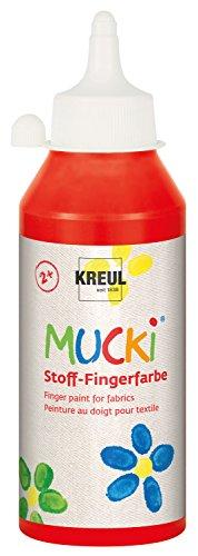 Kreul 28403 - Mucki heldere stof - vingerverf op waterbasis, parabenvrij, glutenvrij, lactosevrij en veganistisch, optimaal voor gebruik met vingers en handen, 250 ml fles, rood