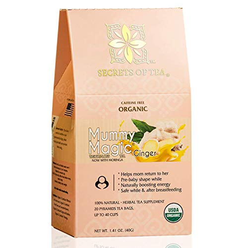 Mummy Magic Sweet Ginger & Moringa Detox Tea + Certified USDA Organic + Supper ingredients like Rooibos Tea, Moringa, Hibiscus Tea - Up to 40 Servings - 20 Count(1 Pack)