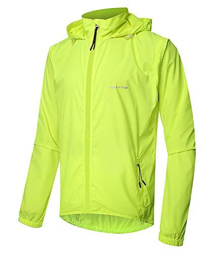 Outto Men's High Visibility Cycling Jacket Convertible UPF50+ Windproof Lightweight Windbreaker(Medium,#180012 Fluorescent Green)