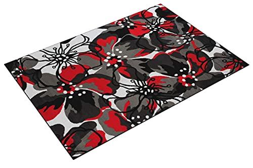 TAPISO Maya Tappeto Salotto Moderno Soggiorno Rosso Nero Fiori Floreale A Pelo Corto 120 x 170 cm