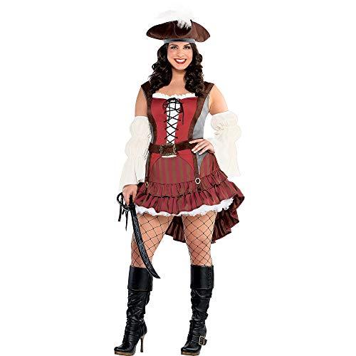 amscan 845000 Castaway Pirate Costume – Plus 2XL (18-20), Adult Plus, Black