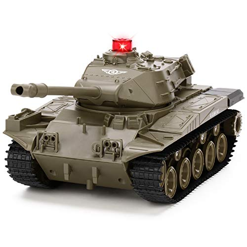 JJRC RC Tank 1/30 Remote Control Military Battle Tank Toy That Shoots with Lights & Realistic Sounds RC Vehicle 270°Rotational Military Toy Truck (Military Green)