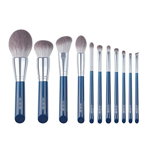 sans marque Pinceaux De Maquillage Azure Series Makeup Brush Set Soft Full Set Beginner Makeup Brushes Artificial Fiber 11 Sticks