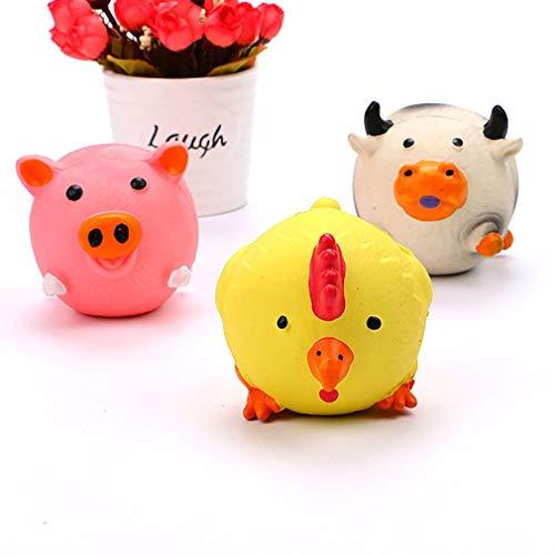 Hondenspeelgoed Natuurlijk latex Klinkend speelgoed Molaren Vervelend sferisch varken Kippenvee Wit