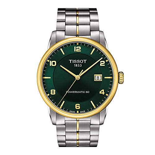 Tissot mens Luxury Stainless Steel Dress Watch Yellow Gold 1N14,Grey T0864072209700