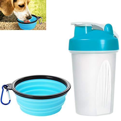 POPETPOP Tragbare Hundewasser-Schüssel, Nahrungsmittelgrad-Leck-Beweis-Haustier-Reise-Wasser-Flasche, Trinkbecher im Freien für Das Gehen
