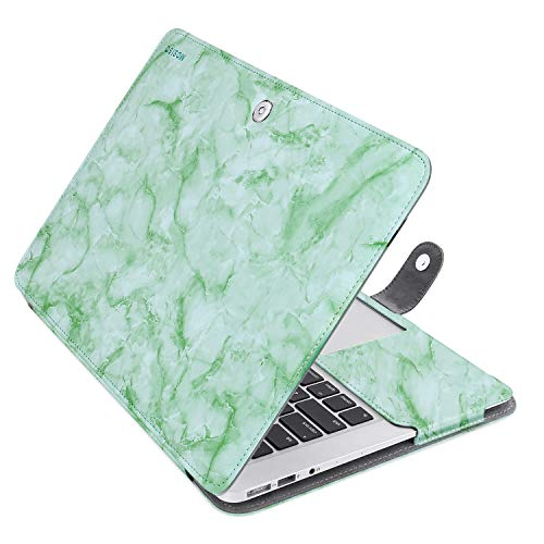 MOSISO PU lederen beschermhoes alleen compatibel met MacBook Air 13 Inch Premium Quality Book Folio Stand Cover Sleeve Light Green Marble