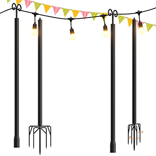 addlon 2 Pack String Lights Poles for Outdoors (2X 10ft),...