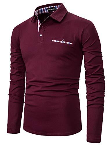 YCUEUST Cotton Reticolo Polo Uomo Manica Lunga Basic Golf Casual T-Shirt Rosso L