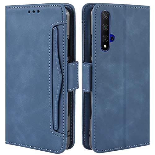 HualuBro Handyhülle für Huawei Nova 5T / Honor 20 Hülle Leder, Flip Hülle Cover Stoßfest Klapphülle Handytasche Schutzhülle für Huawei Nova 5T / Honor 20 Tasche (Blau)