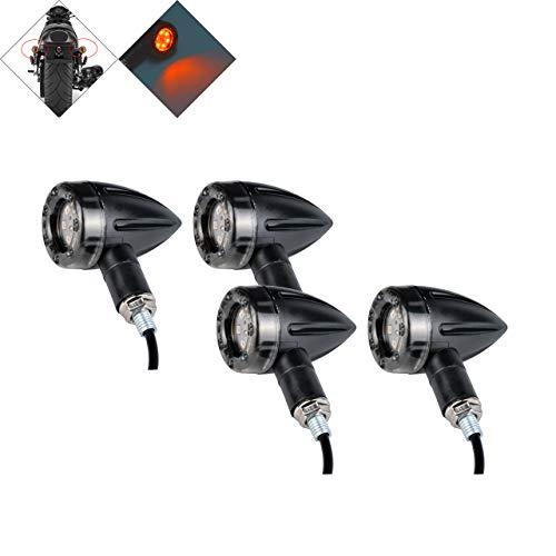 NATGIC 4 STÜCKE Universal Motorrad Blinker Mini Bullet Blinker Bremse Hinten laufende Lichter