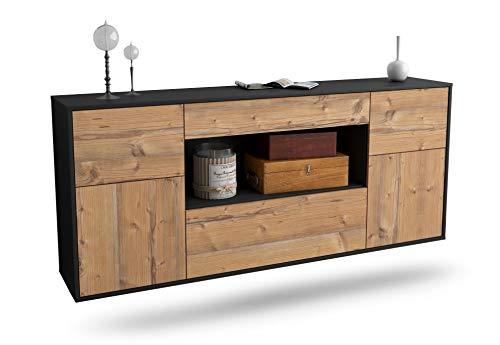 Dekati Sideboard Visalia hängend (180x77x35cm) Korpus anthrazit matt | Front Holz-Design Pinie | Push-to-Open | Leichtlaufschienen