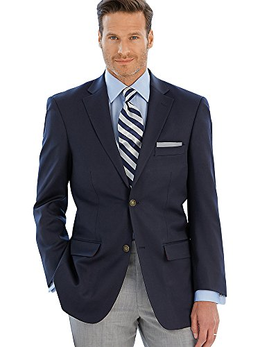 Paul Fredrick Men's Classic Fit Wool Travel Blazer Navy 46 Long JA1511A