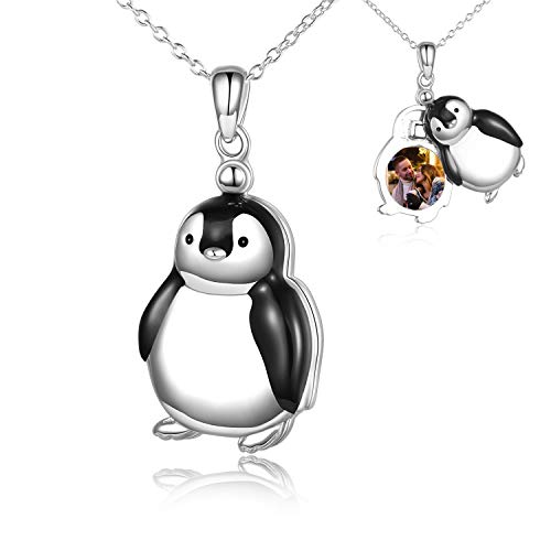 POPLYKE Penguin Locket Necklace That Holds Pictures for Women Sterling Silver Cute Penguin Necklace Jewelry Gifts for Girls (B-Penguin Locket Necklace)
